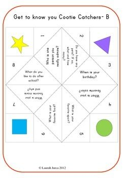 GettoKnow You Cootie Catchers A BacktoSchool Ice