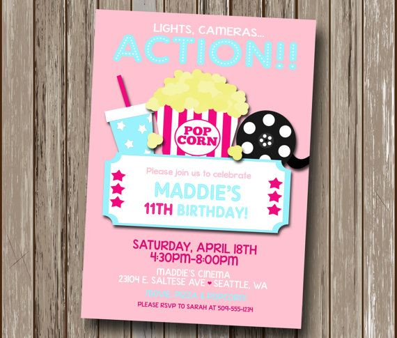 FREE Movie Night Party Printables by Printabelle – Movie Night Birthday Party Invitations