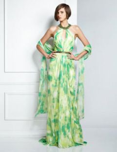 Pamella, Pamella Roland Formal Green Sleeveless Georgette Gown