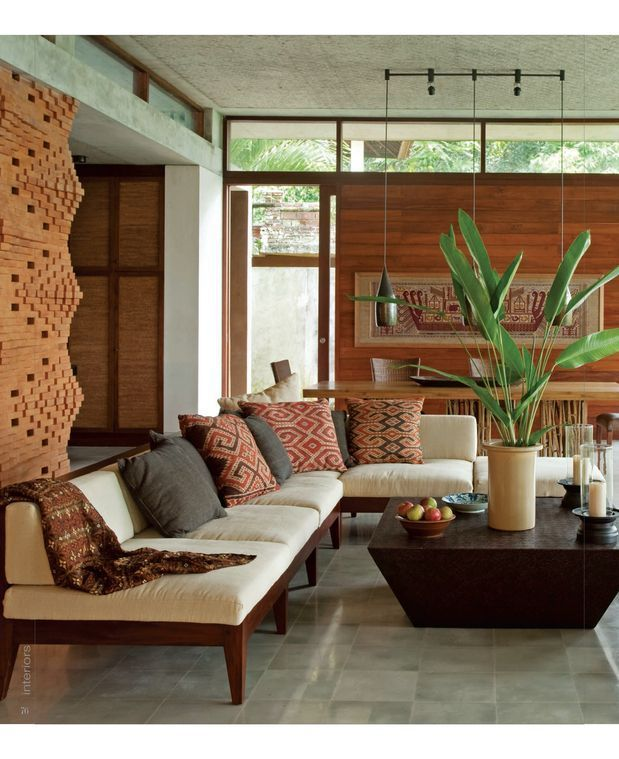 Living Rooms, Balinese Interior Design, Bali Style, Brick Wall ...