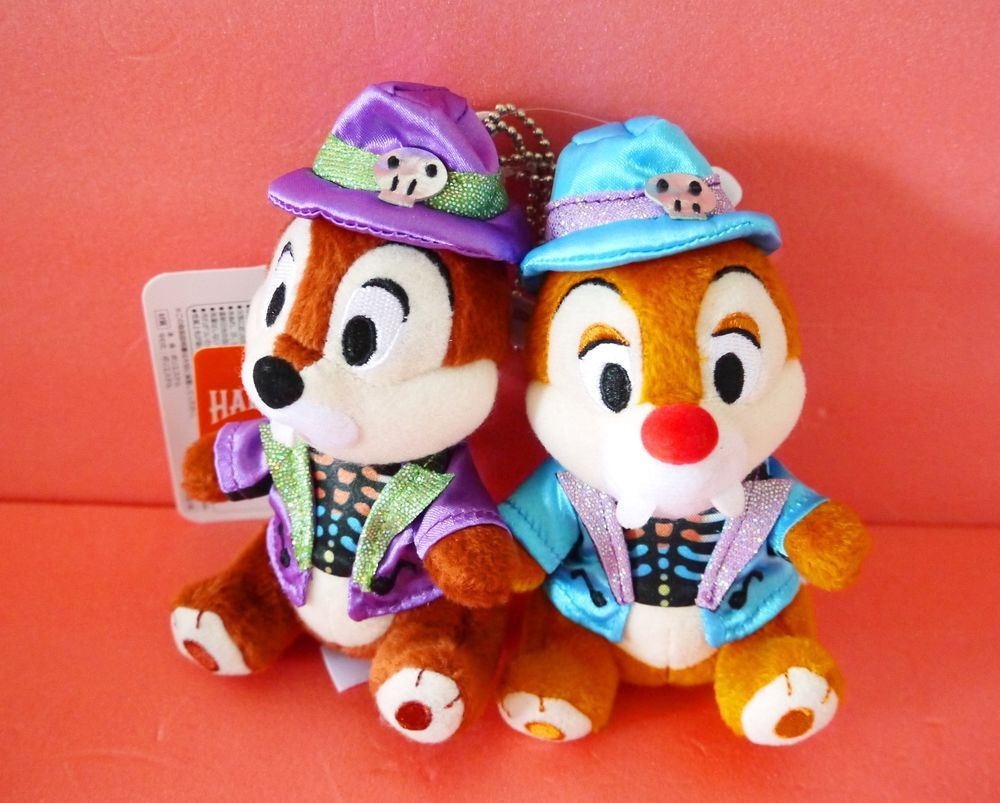 Tokyo Disneyland Disney Halloween Chip and Dale Plush Badge Chain set Japan New…
