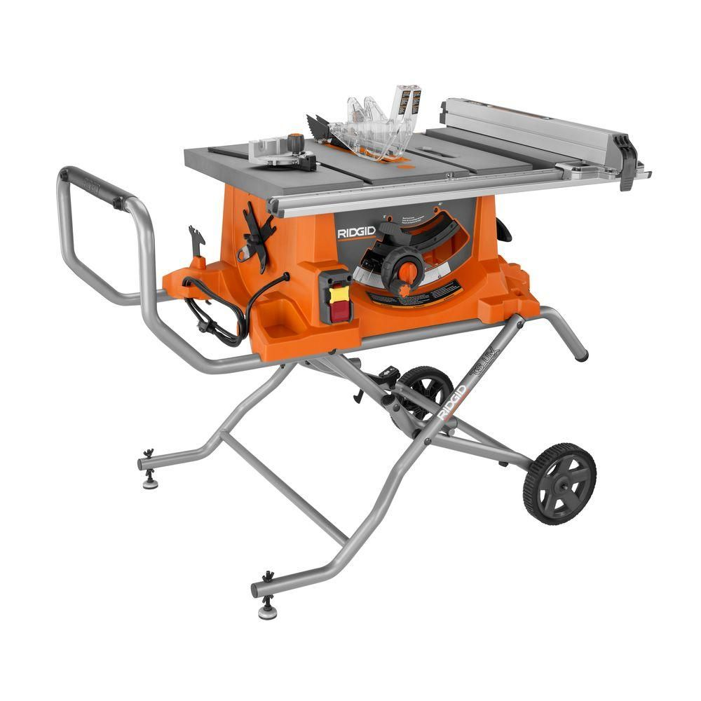 Ridgid 15 Amp Corded 10 In Heavy Duty Portable Table Saw With Stand 399 Portable Table Saw Jobsite Table Saw Best Table Saw