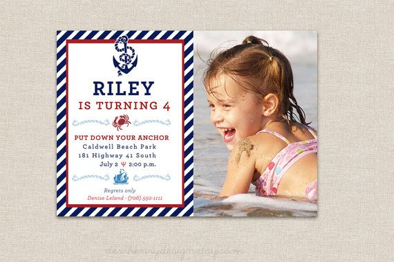 Nautical Birthday Invitation - PRINTABLE PHOTO Invite - Anchor Design - Pool Party - Beach - Red White Blue Invite for Boy or Girl on Etsy, $14.00