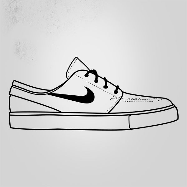 white nike roshes with black swoosh vector