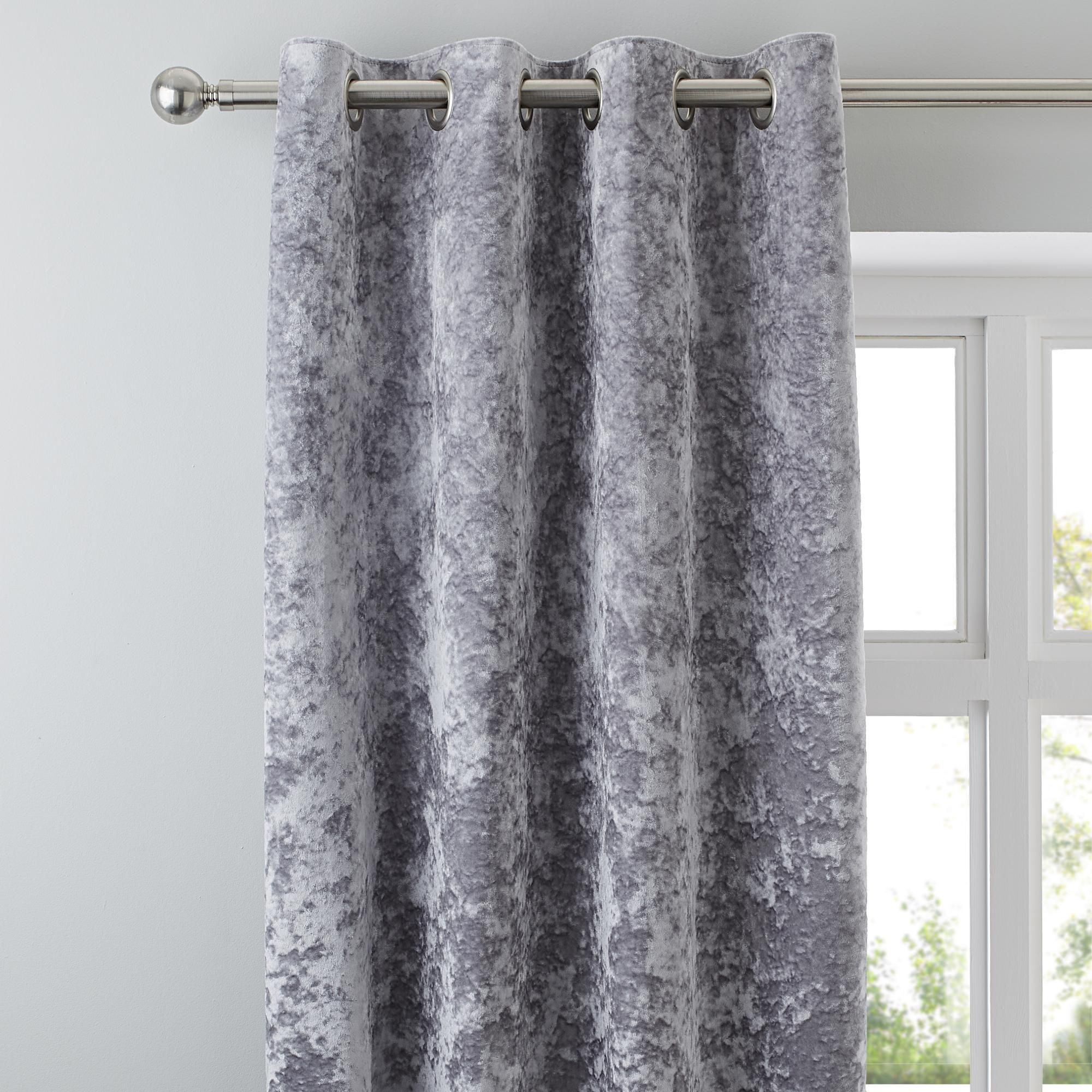 Dunelm Silver Crushed Velour Eyelet Curtains Curtains