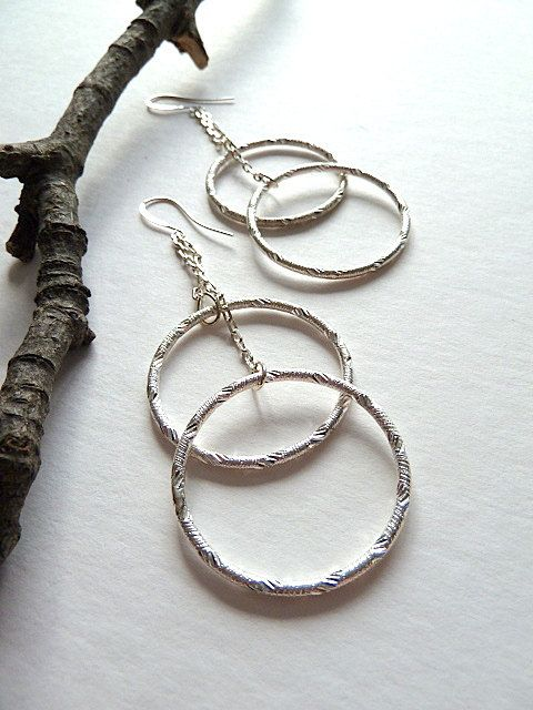 VESPA  Earrings  Large Silver Etched Rings Chain Double by Kiwico