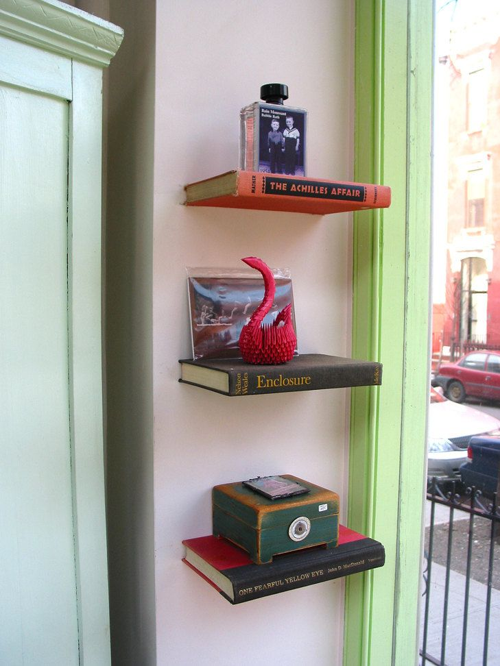 floating shelf made from a book the blue woman in 2019 work rh pinterest co uk DIY Shelves Wall of Books