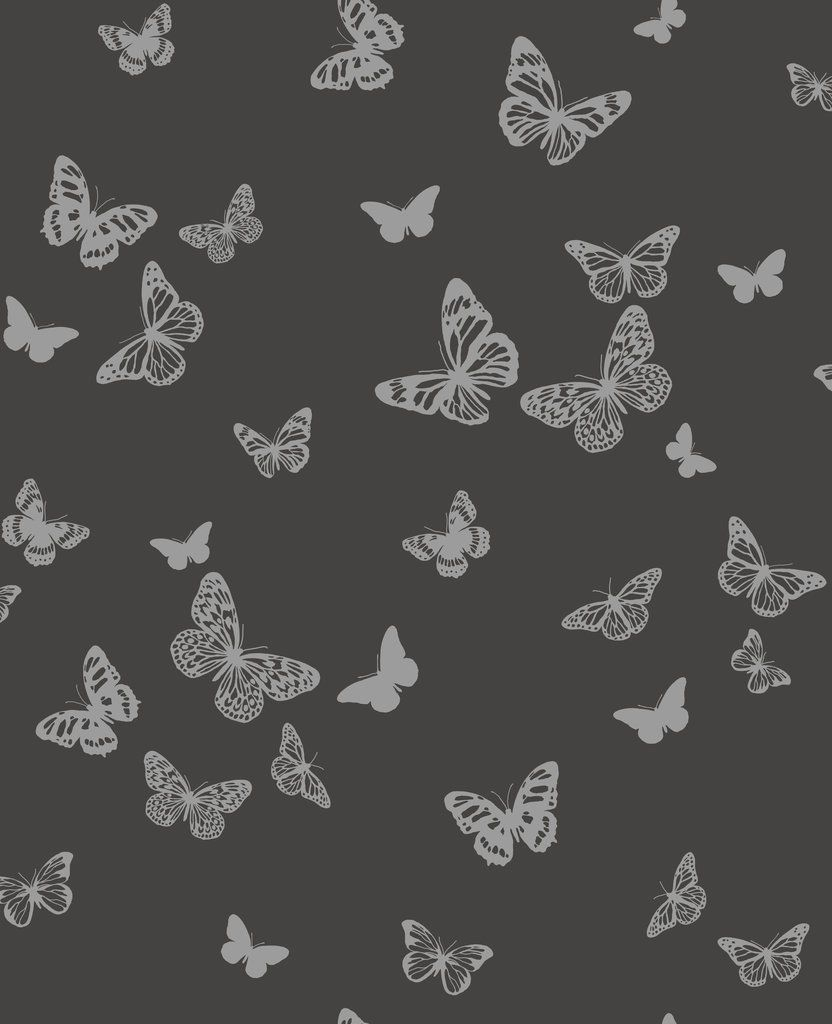 Black Silver Sparkle Butterflies Butterfly Quality Fine Decor Wallpaper Dl40587 Wallpaper Black Silver Decor