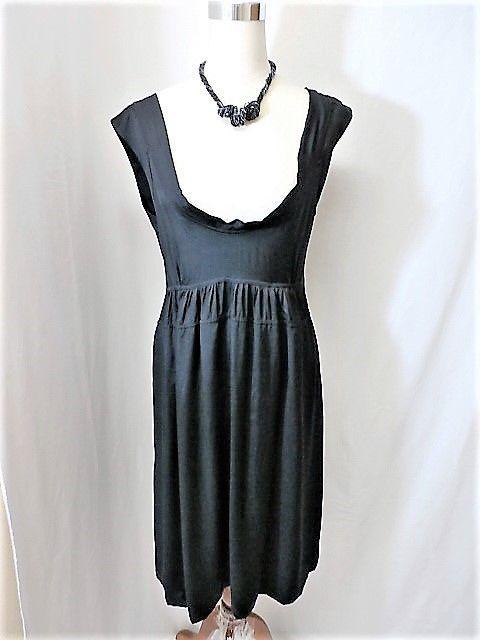 NWT JPARK Sz 3/L BLACK SATIN HIGH WAIST TIERED DRESS  #JPark #EmpireWaist #LittleBlackDress