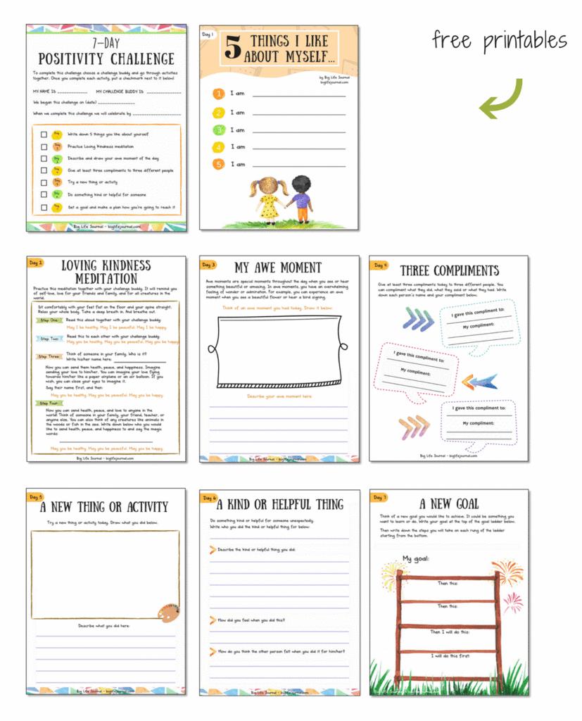 worksheet Positivity Worksheets 7 day positivity challenge for children with printable worksheets worksheets