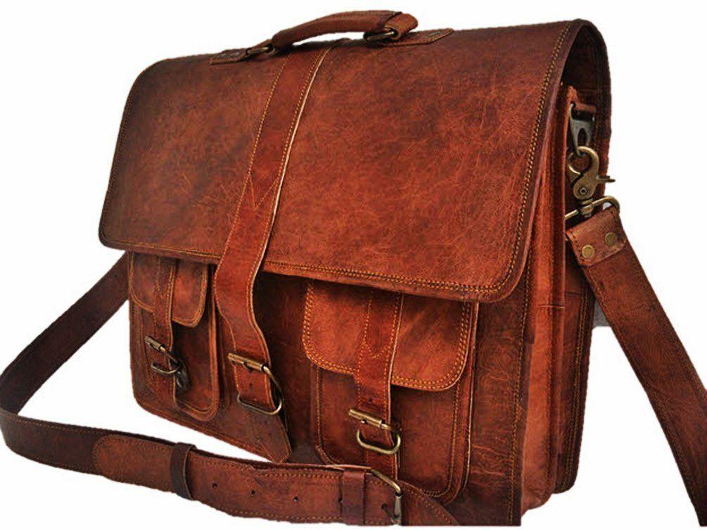 Men/'s Vintage Black Brown Leather Messenger Bag Shoulder Laptop Bag Briefcase