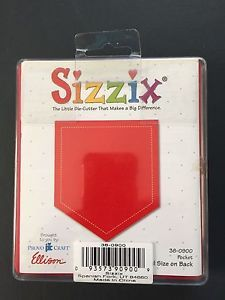 SIZZIX POCKET RED DIE 38-0900 - This is different from the other large pocket die - this one has perfectly symmetrical sides and no decorative stitching across the middle of the pocket.  The other has slightly offset sides & has the additional 'stitching' across the pocket