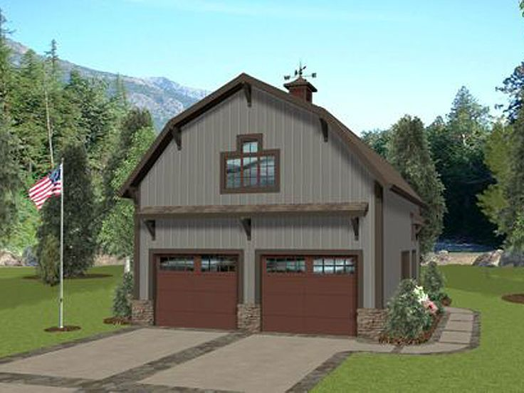 Ordinary Barn Garage Apartment Plans #8: Barn-style Carriage House Plan Offers Gambrel Roof, Two-car Garage, And A  562 Square Foot Apartment.