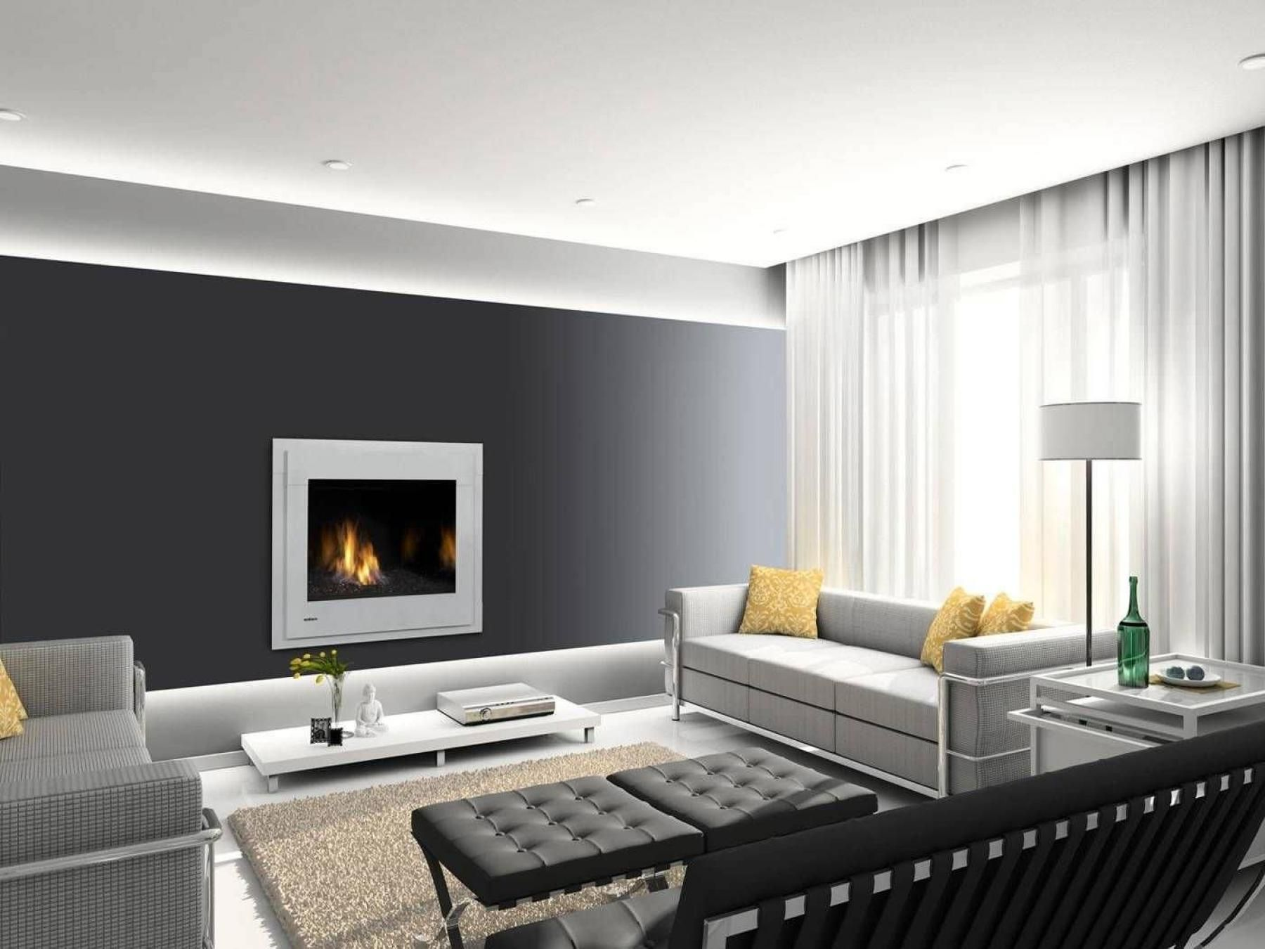 Grey Wall Living Room fashionable modern decorative fireplace screen insert on dark gray