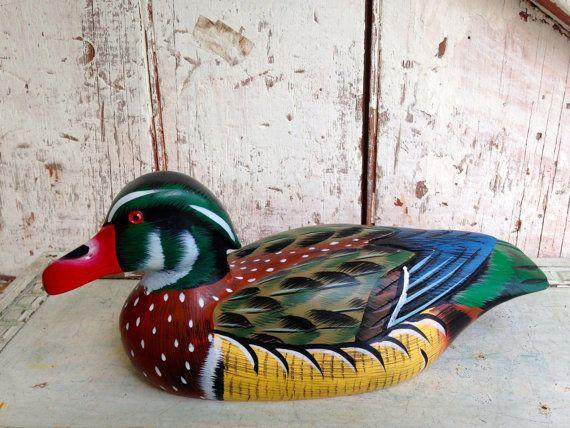 Wooden Duck Decoy Hand Painted Figurine Vintage Etsy Duck Decoys Hand Painted Duck