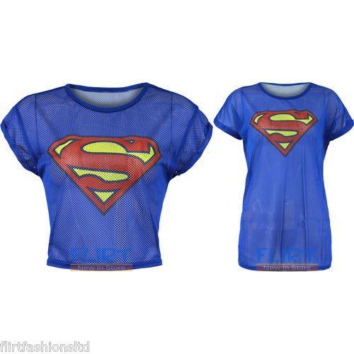 Womens Superman T Shirt Ladies Logo Slogan Top Turn Up Sleeve Vest Fish Net 8 14 Superman T Shirt Superman Shirt Lady Logo