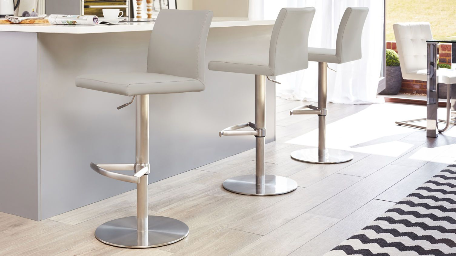 Elise Stainless Steel Gas Lift Bar Stool in cool grey from Danetti.