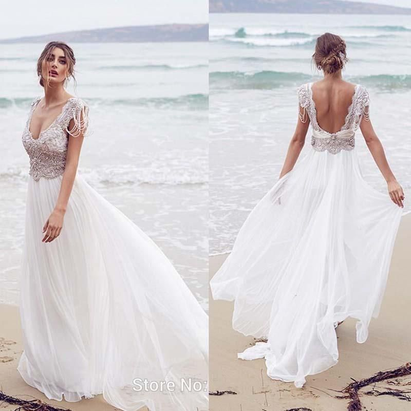 Long Beach Wedding Ceremony Only: Top Rhinestones Cap Sleeve Open Back Long A-Line Chiffon