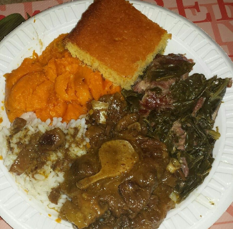 On the menu tonight is oxtail white rice and gravy collard on the menu tonight is oxtail white rice and gravy collard greens bake yamz and sweet corn bread yep on a monday it was too hot yesterday so boom sunday ccuart Choice Image