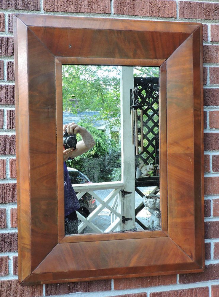 Antique Federal WIDE MOLDING Maple Veneer Old Mirror OGEE Picture Frame c1850s #Federal #unknown