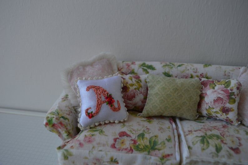 Miniature letter A embroidered cushion/pillow (1/12 scale)