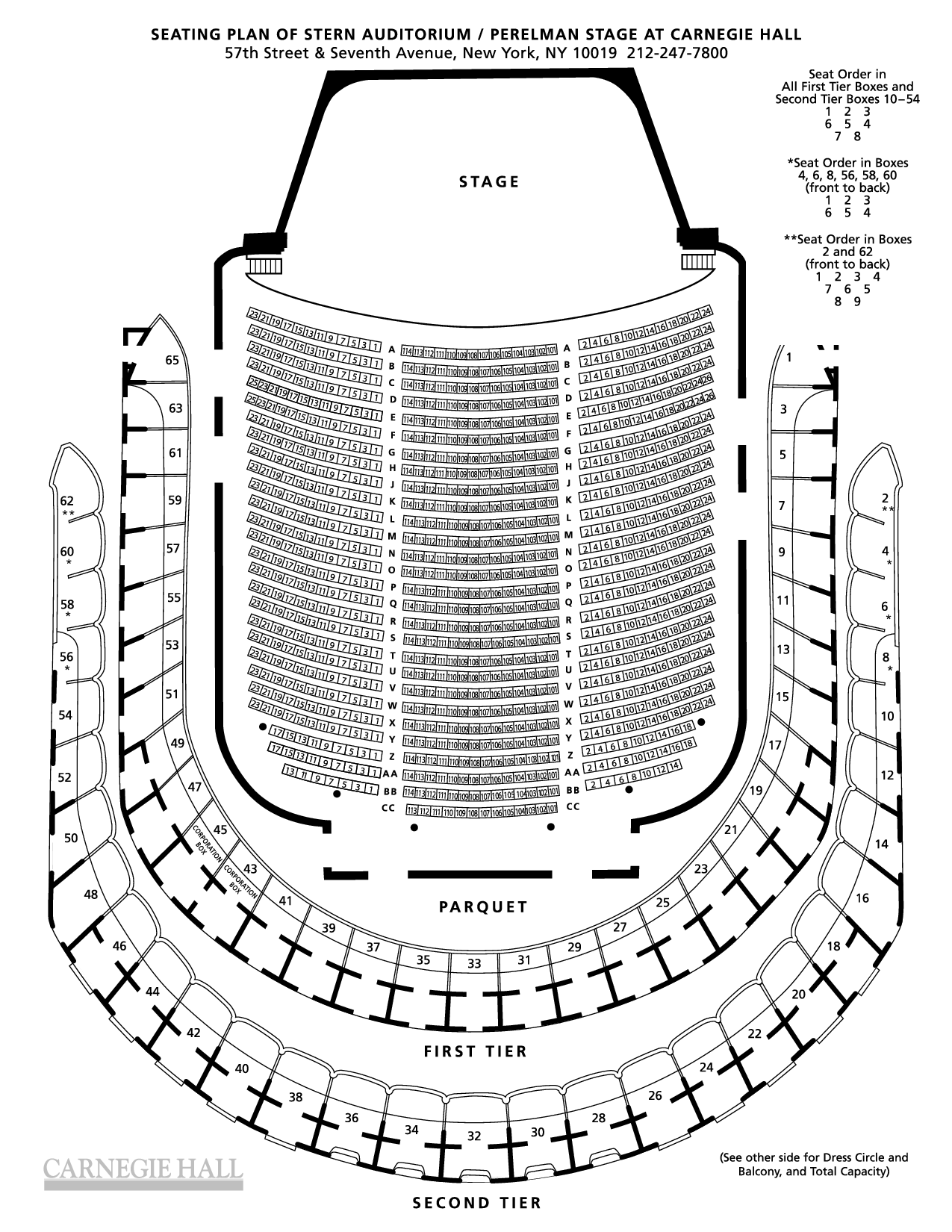 Isaac Stern Carnegie Hall Seating Chart Theater