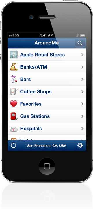 AroundMe iPhone, iPad and Android App to quickly find