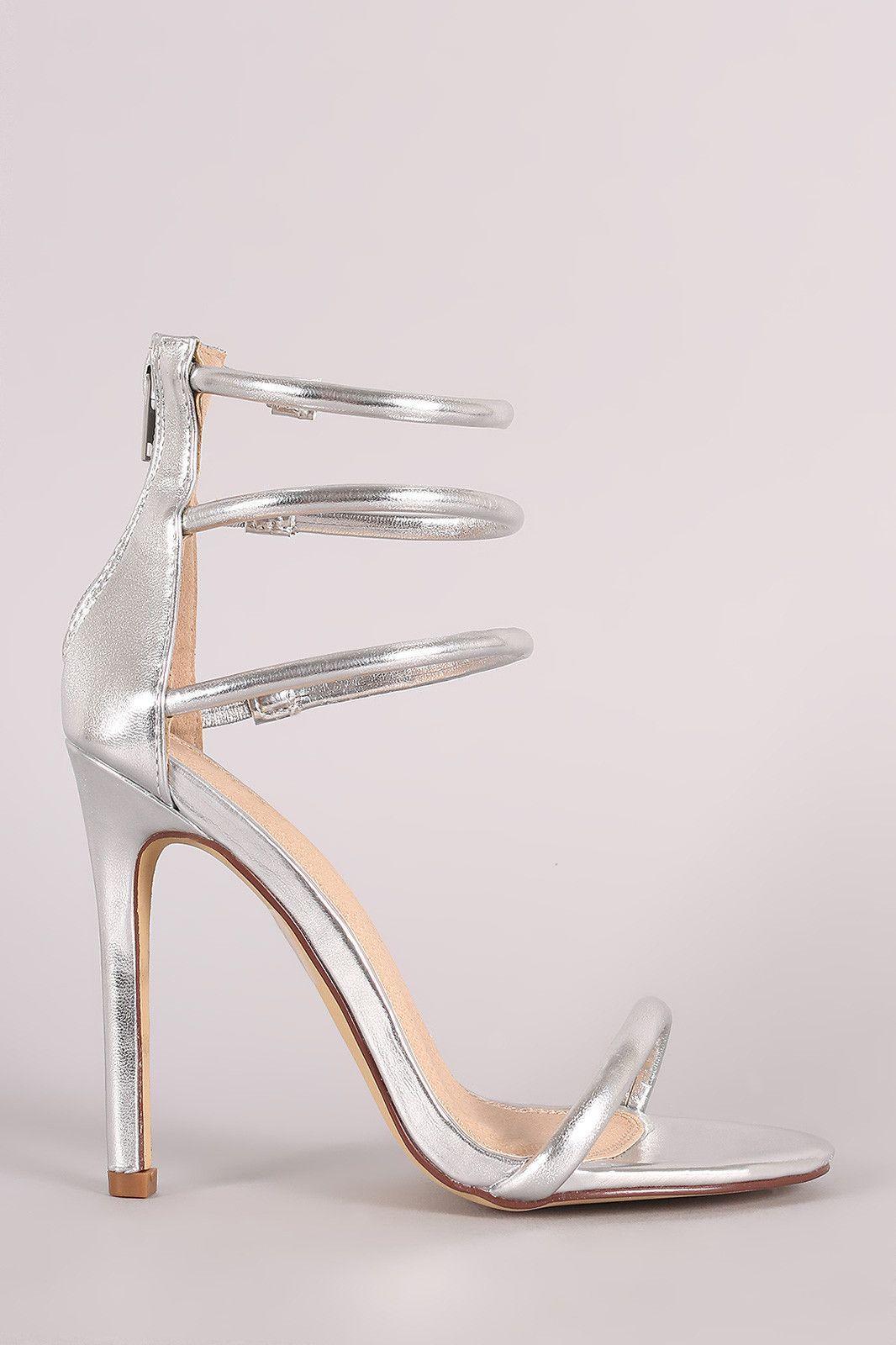 9368778c20d Metallic Triple Ankle Strap Single Sole Heel