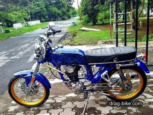 modifikasi motor cb 100 warna biru Honda cb, Cafe racer