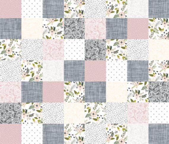 Fl Nursery Quilt Fabric By The Yard Cotton Cheater Blush Gray Flowers Baby Patchwork