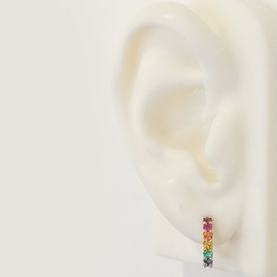 e4c412808 Rainbow Gemstone Pavé 14K Solid Gold Thick Huggie Hinged Hoop Earrings,  13.75mm Outer x 9.5mm Inner