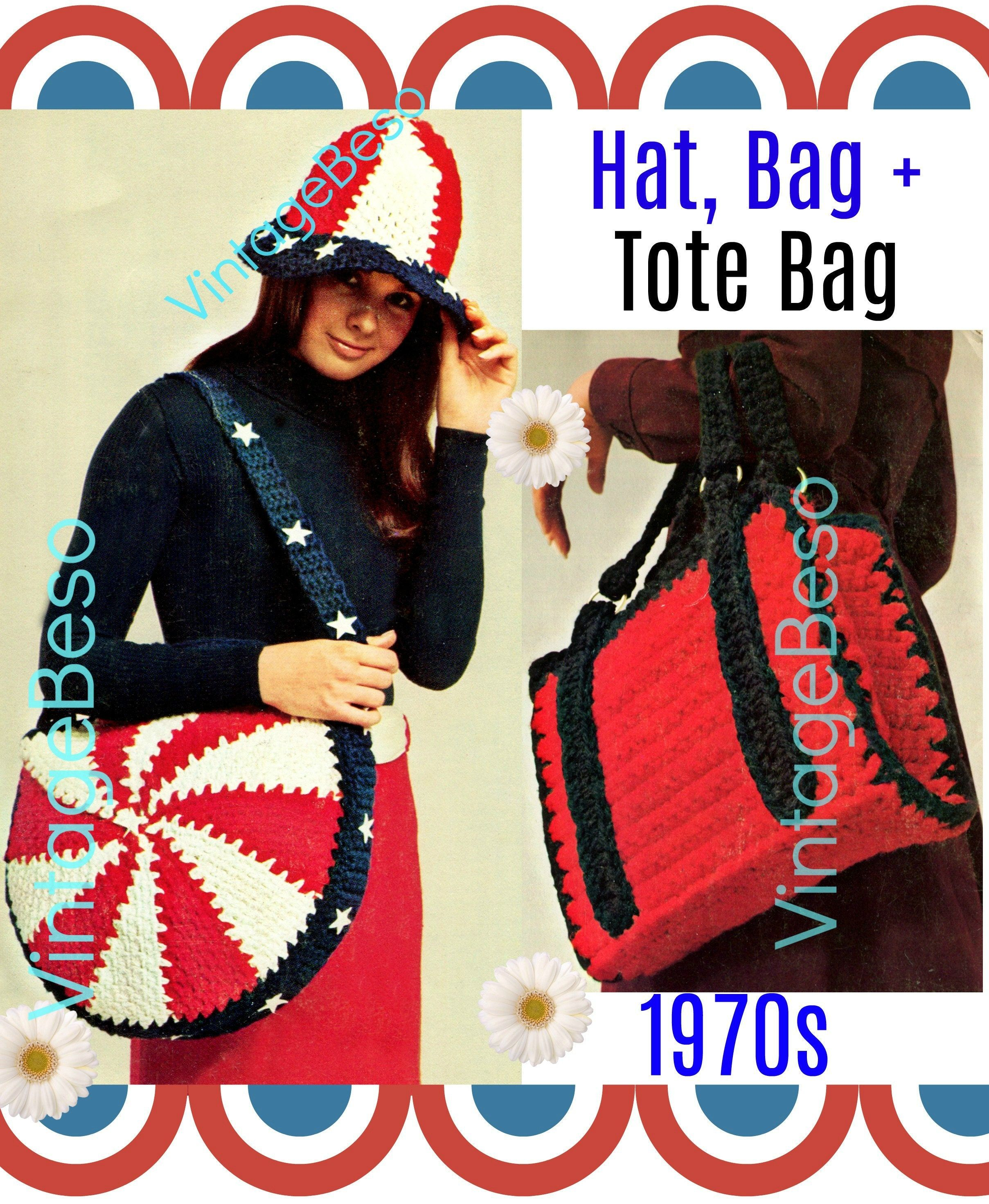 3 Patterns * Patriotic 1970s Vintage Crochet Pattern * Hat Cap Bag Purse Tote Briefcase Crochet * Great for Beginners * Watermarked PDF Only