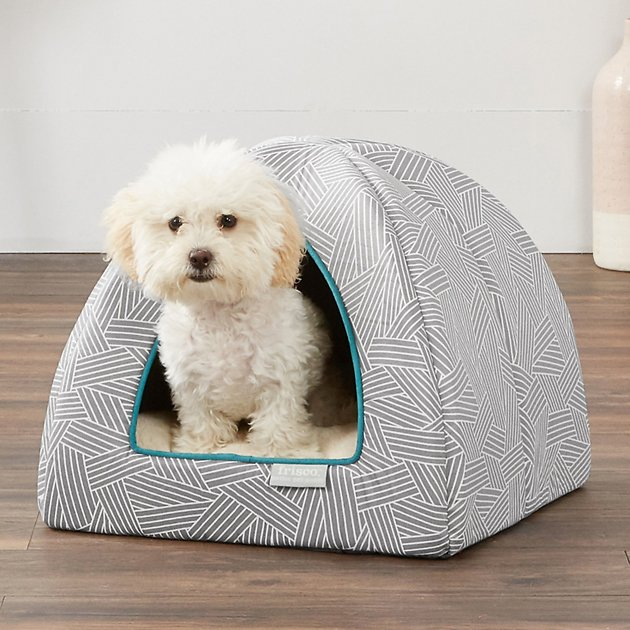 Frisco Igloo Covered Cat & Dog Bed, Gray Basket Weave