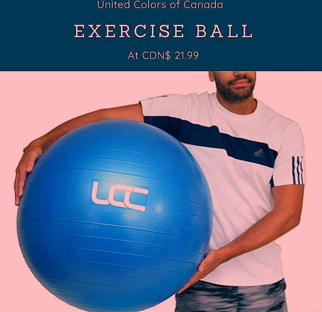 UCC Exercise/Stability ball now available on Amazon.com and Amazon.ca  #unitedcolorsofcanada #exerci...