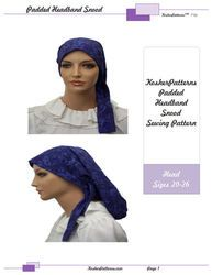 Padded Headband Head Scarf Snood with Ties Letter PDF Pattern