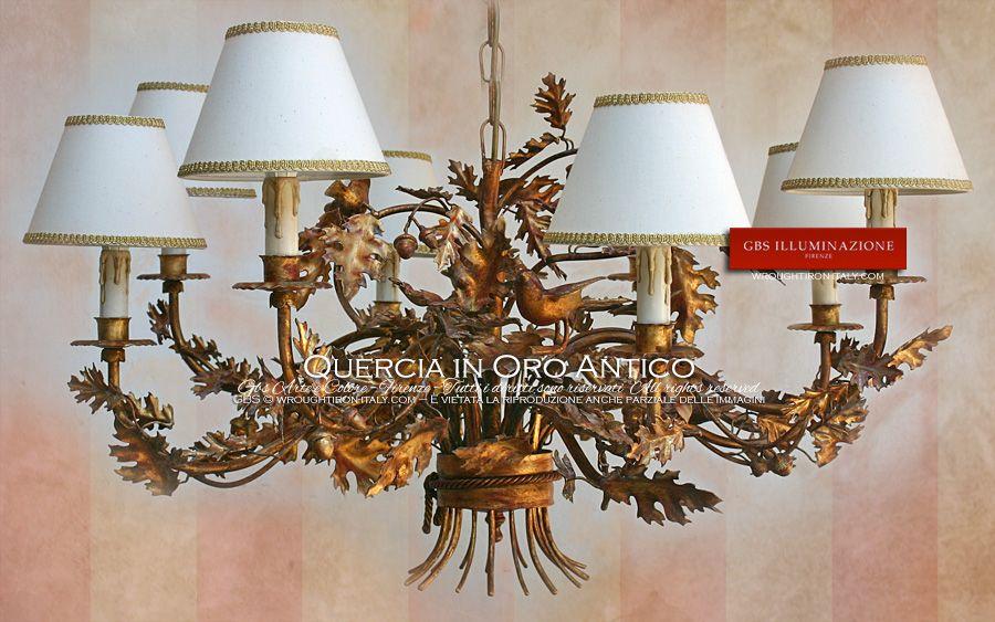 Lampadario quercia in oro antico lampadari in ferro battuto