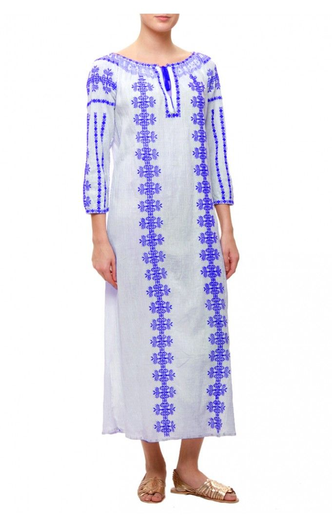 Directional Yet Demure Clothing For The Cool Modern Woman: Roberta Freymann Anca Long Dress In Blue