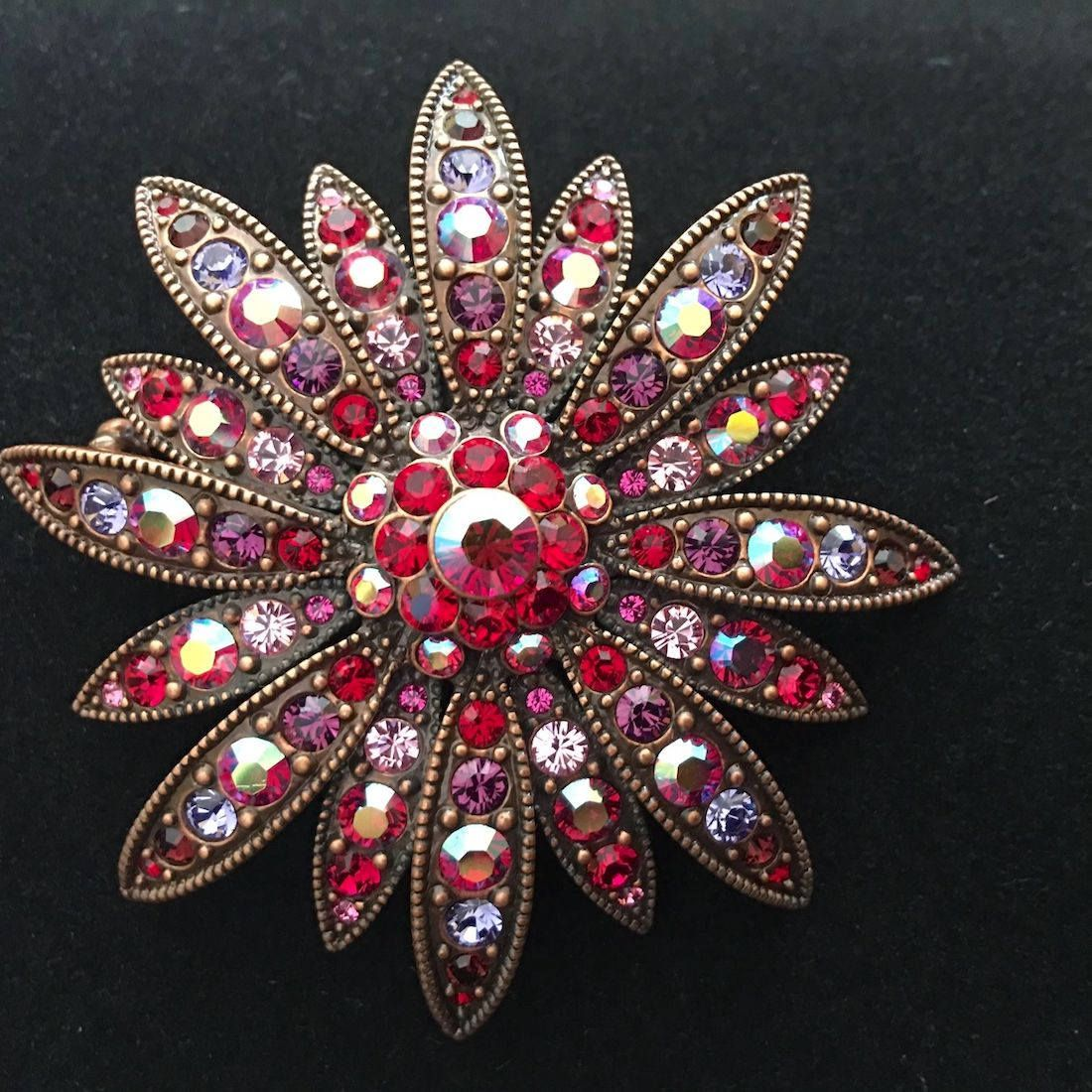 3a541fb13 Vintage Joan Rivers Signed Flower Brooch Pin Red Pink Aurora Borealis  Crystalized Swarovski Crystals 2 1/4