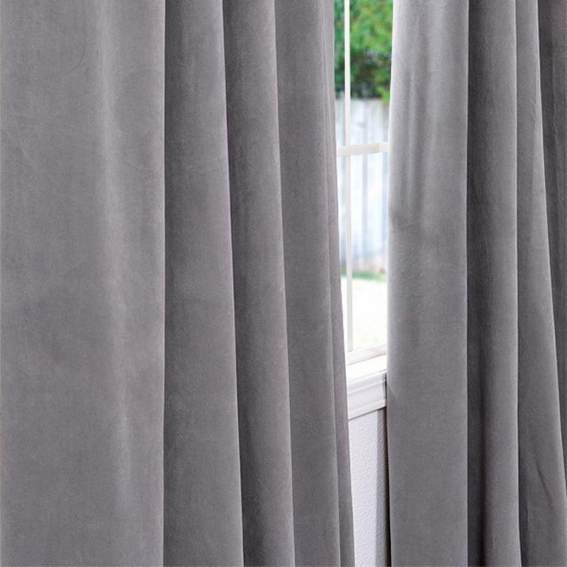 space living silver grey velvet blackout curtain panel. Black Bedroom Furniture Sets. Home Design Ideas