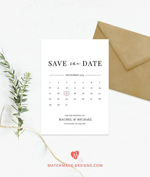 Calendar Save the Date Template Calendar Invitation Printable
