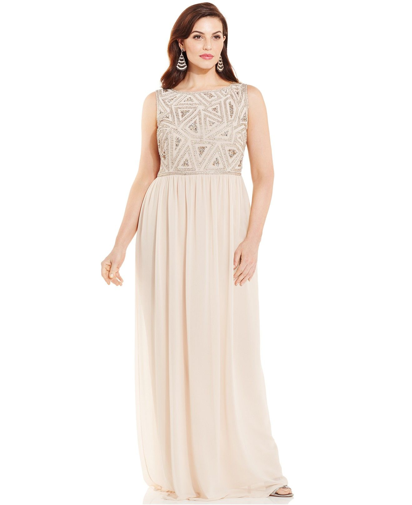 5f579ff1a1a Adrianna Papell Plus Size Embellished-Bodice Gown - Dresses - Women -  Macy s Plus Size
