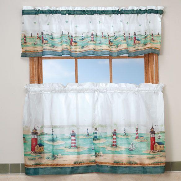 Lighthouse Kitchen Curtain & Valance Set - Walter Drake