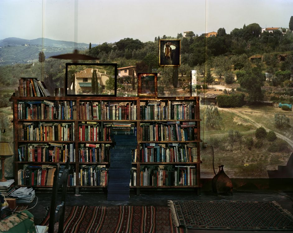 Abelardo Morell, Camera Obscura : View of Landscape Outside Florence in Room With Bookcase. Italy, 2009