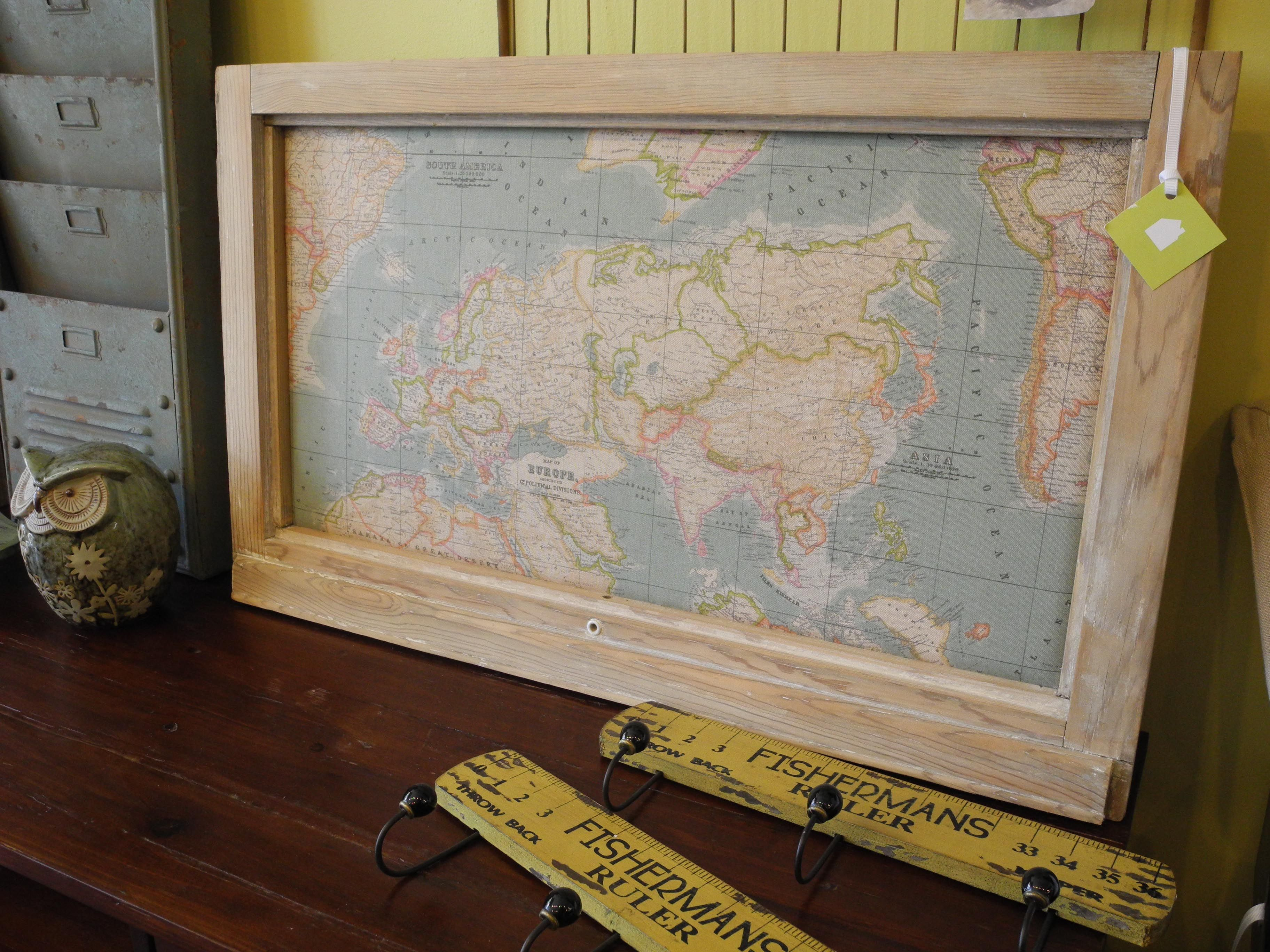 A pin board made with awesome world map fabric and a vintage a pin board made with awesome world map fabric and a vintage window frame gumiabroncs Image collections