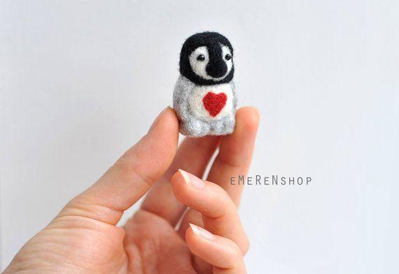 Needle Felted penguin. miniature penguin figure. 100% by EMEREN