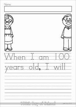 th day of school worksheets and activities no prep  school  th day of school no prep packet for kindergarten a page from the unit  writing prompt  when i am  years old i will