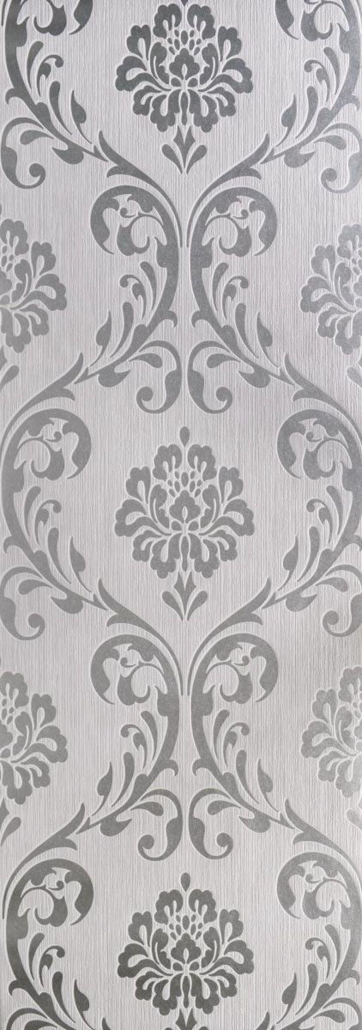 Vliestapete Ornament Silber Vinyl Wallpaper Tapeten Ornament Tapete