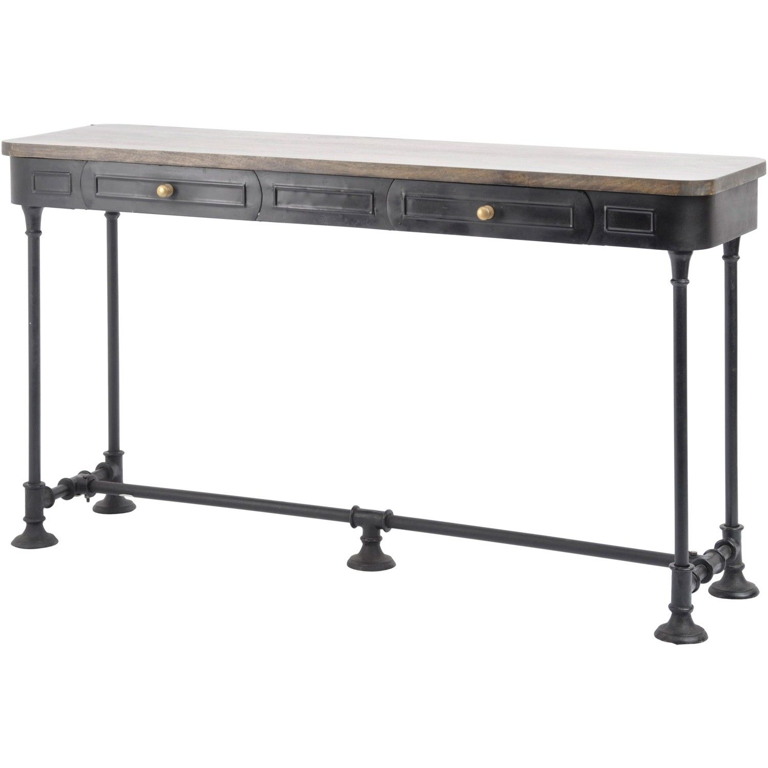 Wooden Slim Black Shallow Console Table With Drawers Black