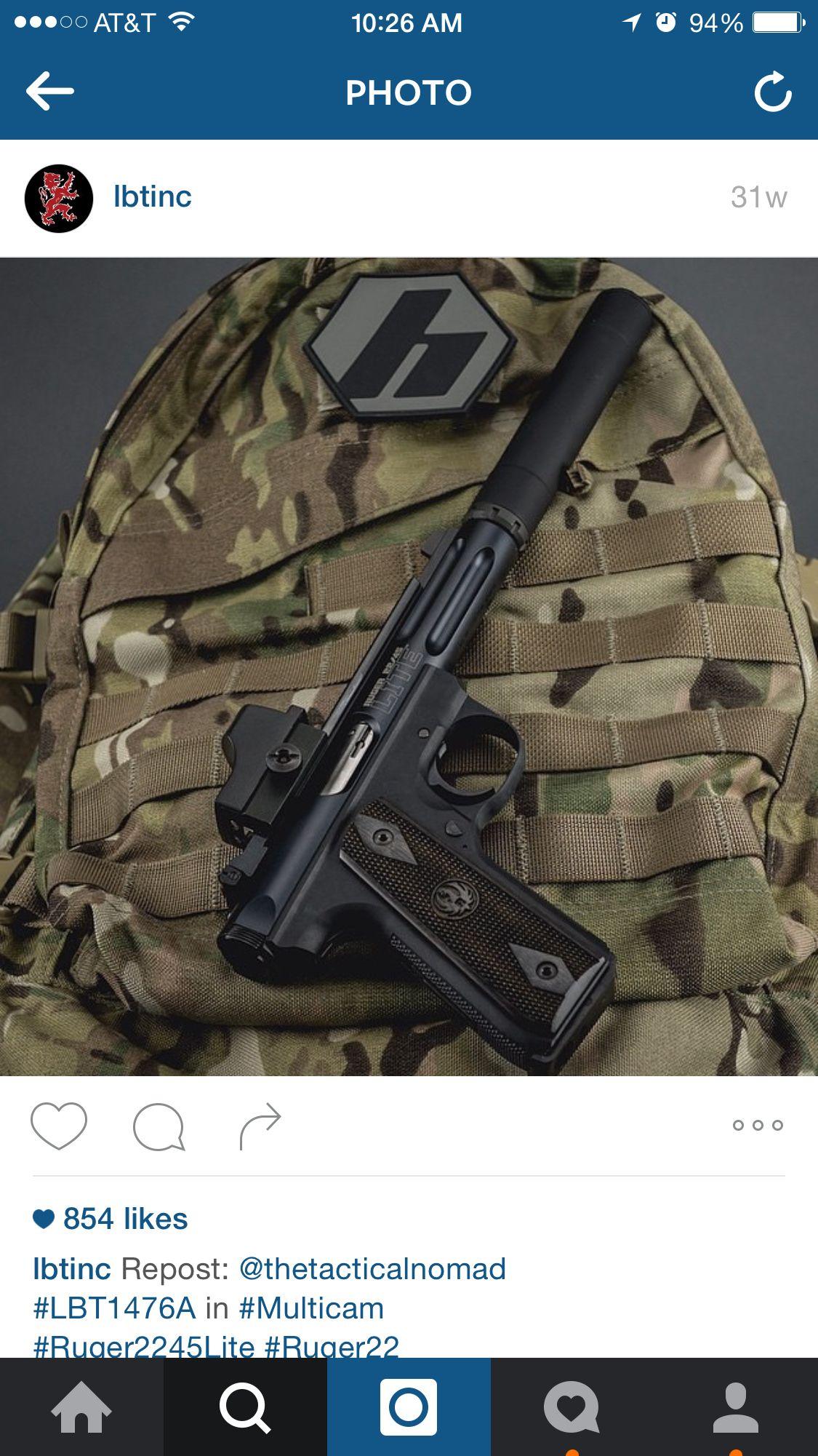 Ruger .22 pistol silenced