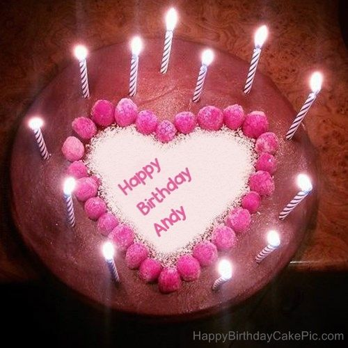 Candles Heart Happy Birthday Cake For Andy Jpg 500 500